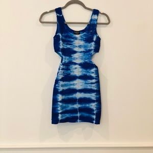 Tie dye blue bodycon dress with cut outs
